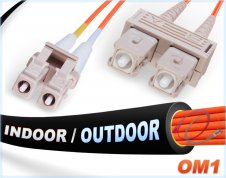OM1 LC-SC Indoor/Outdoor 62.5/125 Multimode DX Fiber Cable