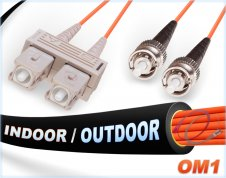 OM1 SC ST In/Outdoor Duplex Fiber Patch Cable 62.5/125 Multimode