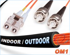 OM1 LC ST Duplex Fiber Patch Cables, 62.5/125 Multimode jumper cord