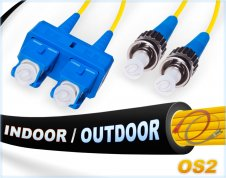 OS2 SC ST In/Outdoor Duplex Fiber Patch Cable 9/125 Singlemode