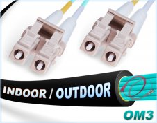 OM3 LC LC In/Outdoor Duplex Fiber Patch Cable 10Gb Multimode 50/125