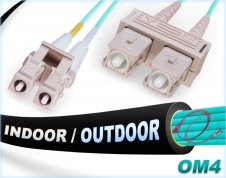 OM4 LC SC Fiber Patch Cable | In/Outdoor 100G Duplex 50/125 Multimode