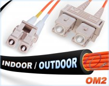 OM2 LC SC Indoor/Outdoor Duplex Fiber Patch Cable 50/125 Multimode