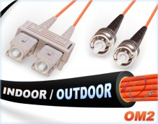 OM2 SC ST Indoor/Outdoor Duplex Fiber Patch Cable 50/125 Multimode