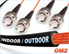 OM2 ST ST Indoor/Outdoor Duplex Fiber Patch Cables 50/125 Multimode