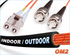 OM2 LC ST Indoor/Outdoor Duplex Fiber Patch Cable 50/125 Multimode