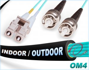 OM4 LC ST In/Outdoor Duplex Fiber Patch Cable 100G Multimode 50/125