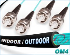 OM4 ST ST Fiber Patch Cable | In/Outdoor 100G Duplex 50/125 Multimode