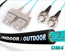 OM4 SC ST Fiber Patch Cable | In/Outdoor 100G Duplex 50/125 Multimode