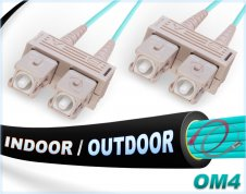 OM4 SC SC Fiber Patch Cable | In/Outdoor 100G Duplex 50/125 Multimode