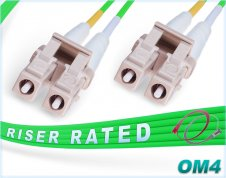 OM4 LC LC Green Fiber Patch Cable | LSZH 100G Duplex Multimode 50/125