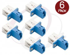 6 X LC SC Fiber Adapter Female | 6 Pack Hybrid F/F Flange Type SM/MM