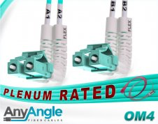 OM4 LC LC Fiber Patch Cable | AnyAngle Plenum Duplex 50/125 Multimode Jumper