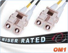 OM1 LC LC Fiber Patch Cable | Black 1G Duplex 62.5/125 Multimode