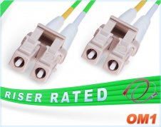 OM1 LC LC Fiber Patch Cable | Green 1G Duplex 62.5/125 Multimode