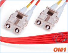 OM1 LC LC Fiber Patch Cable | Red 1G Duplex 62.5/125 Multimode