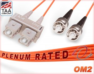 OM2 SC ST Plenum Duplex Fiber Patch Cable 50/125 Multimode