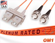 OM1 SC ST Plenum Duplex Fiber Patch Cable 62.5/125 Multimode