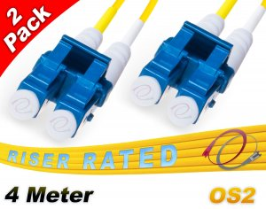 Multi-Pack 4M OS2 LC LC Fiber Patch Cables 9/125 Duplex Singlemode
