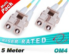 Multi-Pack 5M OM4 LC LC Fiber Patch Cables 50/125 Duplex Multimode