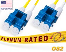 OS2 LC LC Plenum Duplex Fiber Patch Cable 9/125 Singlemode - Made In USA