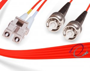 Red OM1 LC-ST 62.5/125 Multimode Duplex Fiber Cable