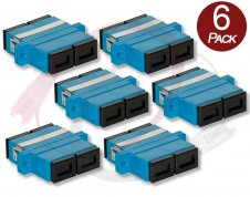 6 Pack SC-SC Duplex Fiber Optic Couplers - Singlemode/Multimode